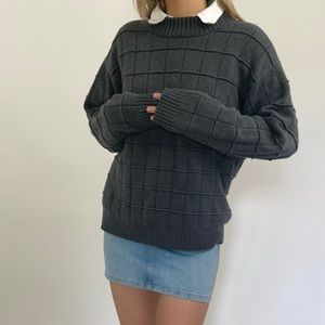 Vintage Charcoal Gray Chunky Checkered Sweater